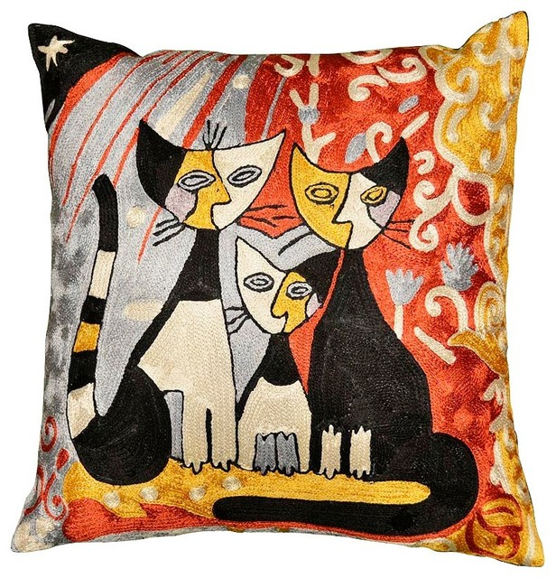 Modern Cat Pillow Cover Family Hand Embroidered 18