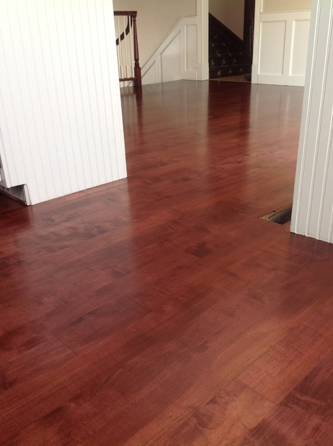 Maple stained blood red for Hardwood floor dealers