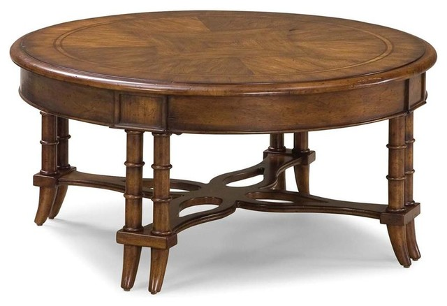 Round matched top cocktail table w bamboo style double for Double round coffee table