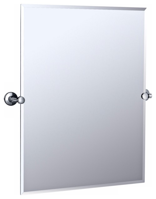 Gatco max polished chrome 31 1 2 high wall mirror traditional bathroom mirrors by lamps plus Polished chrome bathroom mirrors