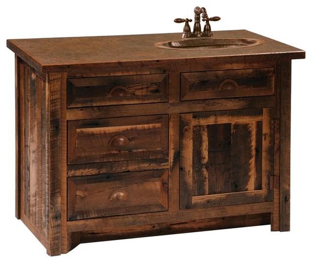 Barnwood Sink Vanity 30 In W O Top Center Hickory Rustic Bathroom