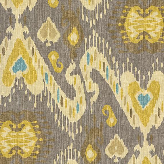Ikat Home Decor Fabric: Gray, Yellow & Aqua Ikat Fabric
