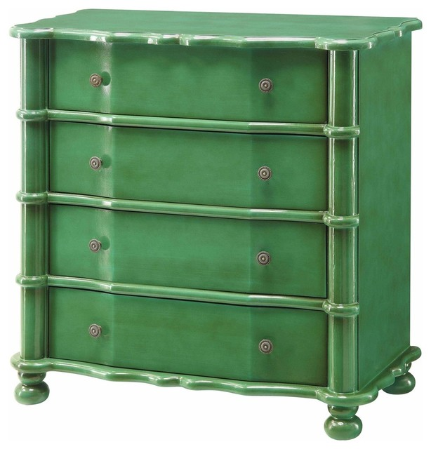 Kelly Emerald Green 4 Drawer Accent Chest Transitional