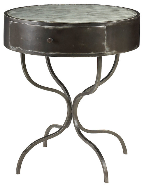 Cole Round Nightstand Distressed Black Contemporary