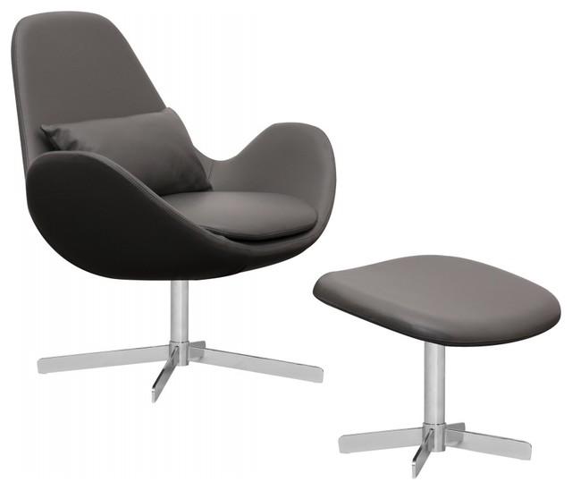 loungesessel houston semianilinleder grau niedrig mit. Black Bedroom Furniture Sets. Home Design Ideas