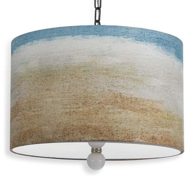 painted seaside beach style landscape drum pendant light bord de mer suspension luminaire. Black Bedroom Furniture Sets. Home Design Ideas