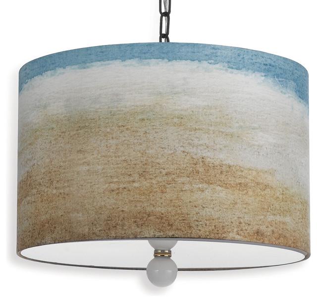 painted seaside beach style landscape drum pendant light bord de mer suspension luminaire. Black Bedroom Furniture Sets. Home Design Ideas