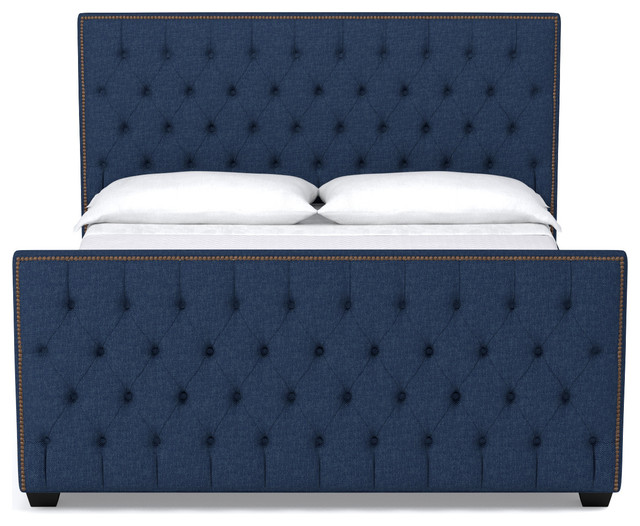 Huntley Tufted Upholstered Bed Navy Eastern King Transitional Panel