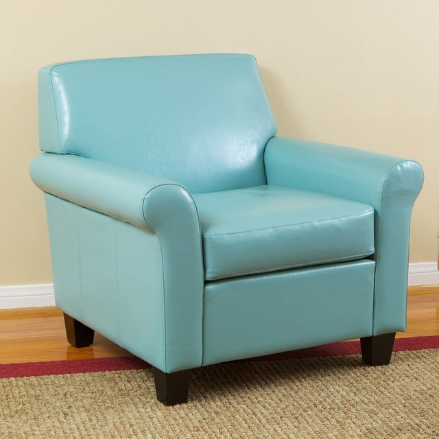 Teal Leather Accent Chairs: Christopher Knight Home Oversized Teal Blue Bonded Leather