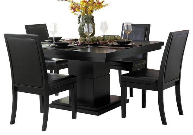 Homelegance cicero 5 piece square pedestal dining room set for Traditional black dining room sets