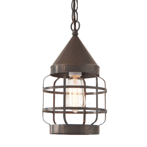 Round hanging strap light in blackened tin country kitchen for Farmhouse pendant lighting kitchen