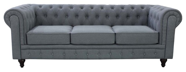 gray linen fabric chesterfield sofa grey 88 x35. Black Bedroom Furniture Sets. Home Design Ideas
