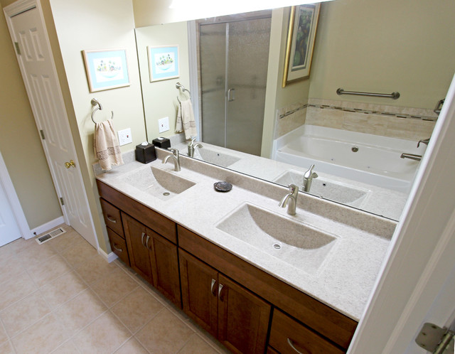 Cherry Cabinets With Cultured Marble Countertops In Medina Oh Traditional Bathroom Vanities