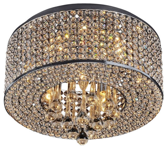 7 light round chrome and crystal flush mount chandelier