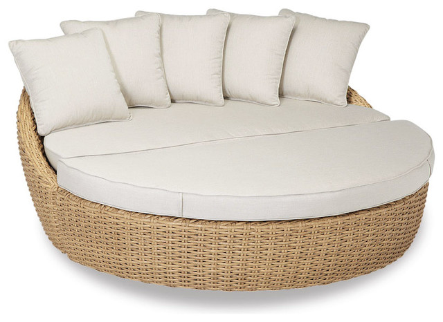 Leucadia Round 2 Piece Daybed With Cushions Canvas Flax