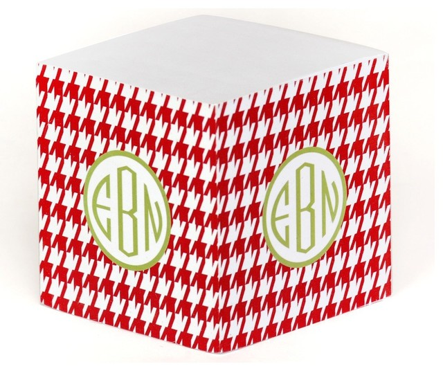 Clairebella Of Clairebella Personalized Note Cube Holiday Houndstooth