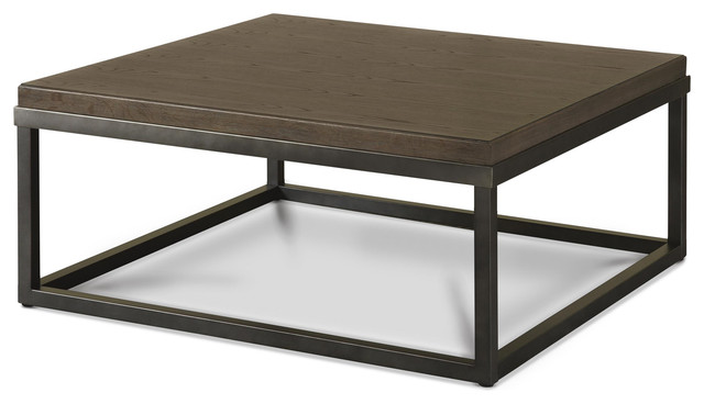 French Industrial Oak Wood Metal Square Cocktail Table Industrial Coffee Tables By Zin Home