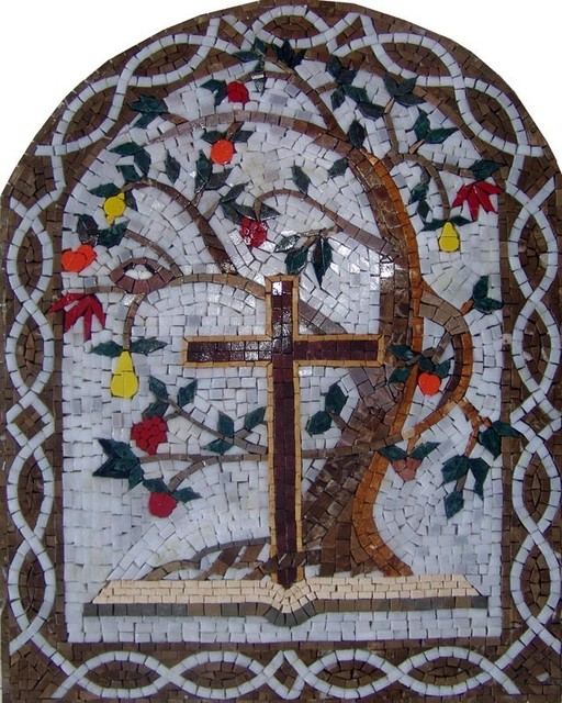 Arched mosaic holy cross and tree of life traditional for Crossing the shallows tile mural