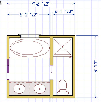 Small master bath needs renovated for Bathroom design 9x9