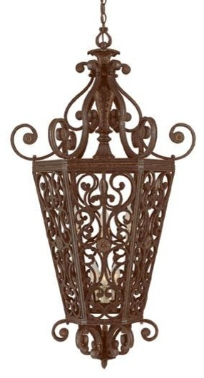 Open Frame Foyer Light : Six light antique copper open frame foyer hall fixture