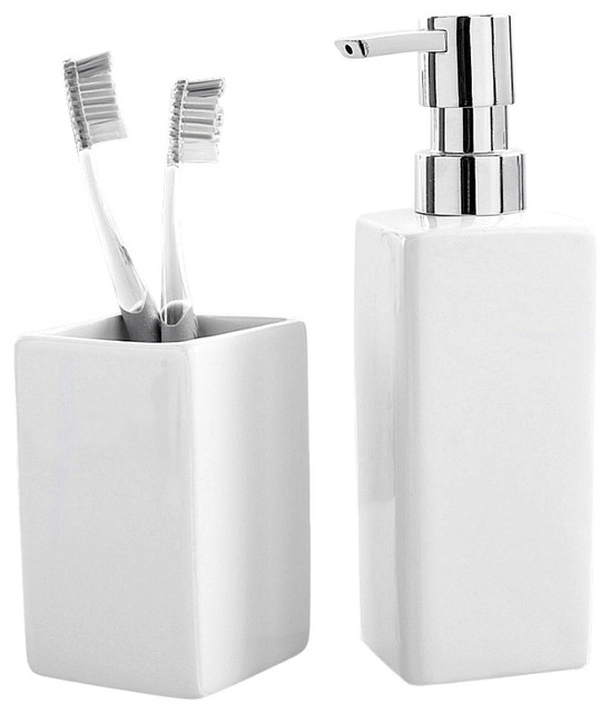 Luxury porcelain 2 piece bathroom set white for White bath accessories sets