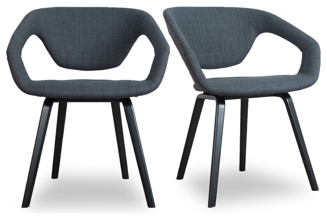 Lot de 2 fauteuils design flex back black couleur gris for Fauteuil design salle a manger