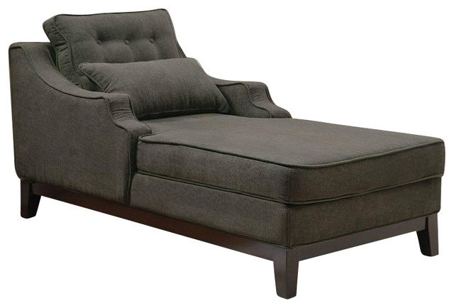Coaster upholstered grey chaise in black finish for Black and silver chaise lounge