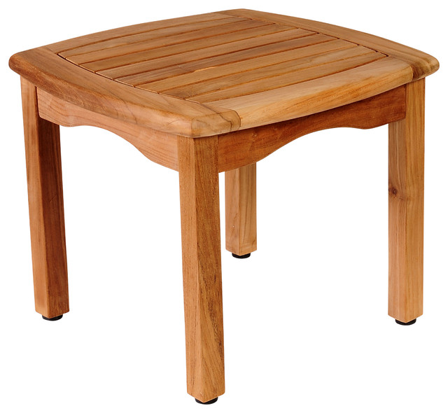 Amazonia intan teak square side table contemporary for Teak side table outdoor