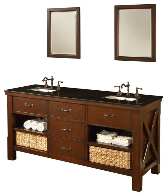 Xtraordinary Spa 70 Dark Brown Vanity Black Granite Top And Mirror Craftsman Bathroom