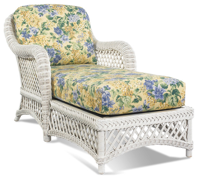 White Wicker Chaise Lanai Tropical Indoor Chaise