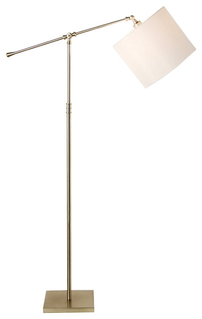 concise style linear floor lamp with linen shade. Black Bedroom Furniture Sets. Home Design Ideas