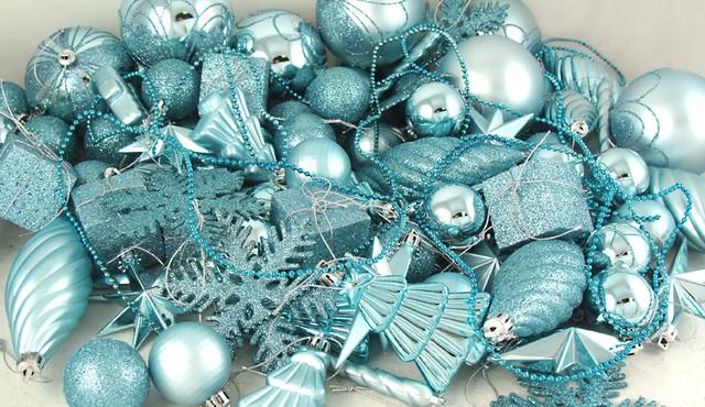 125 Piece Club Pack Of Shatterproof Mermaid Blue Christmas