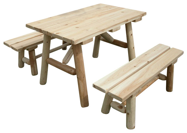 Rustic White Cedar Log Picnic Table With Detached Benches 4ft Farmhouse Outdoor Dining