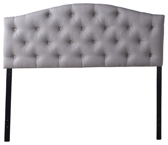 Myra Gray Fabric Upholstered Button Tufted Scalloped Headboard Queen