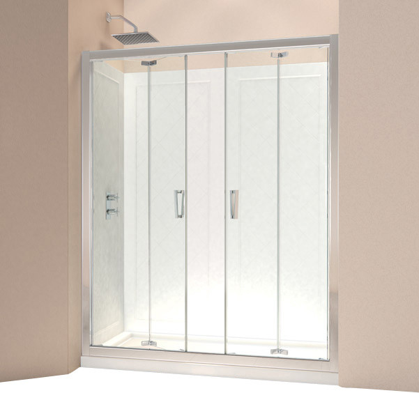 Contemporary Bathroom Doors: DreamLine Butterfly Frameless Bi-Fold Shower Door And