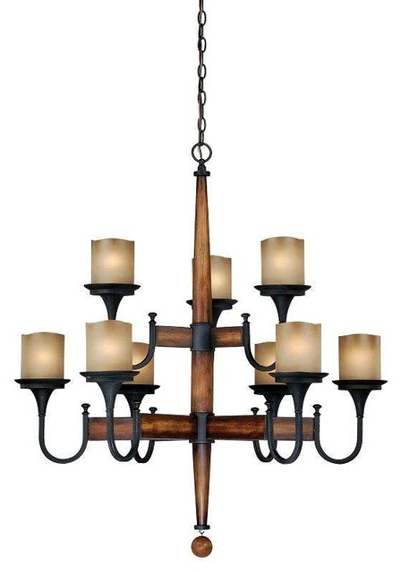 Black Wood And Iron Chandelier