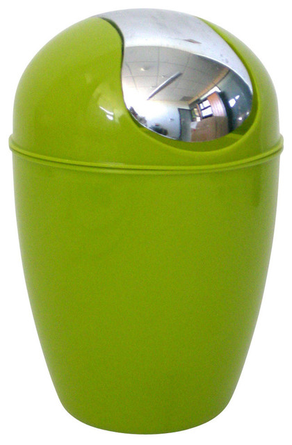 bathroom waste basket trash can solid shiny color with chrome lid 0