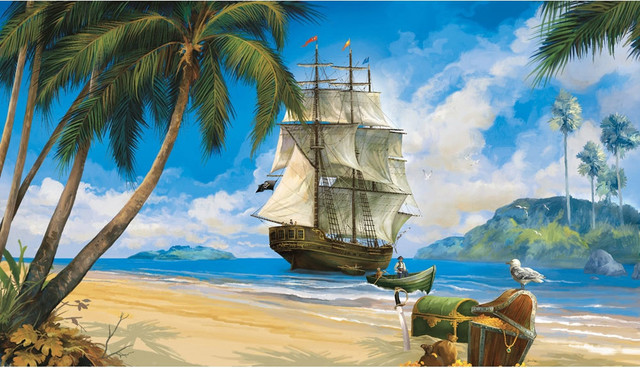 Pirates ship treasure giant wallpaper accent mural contemporary wallpaper by obedding