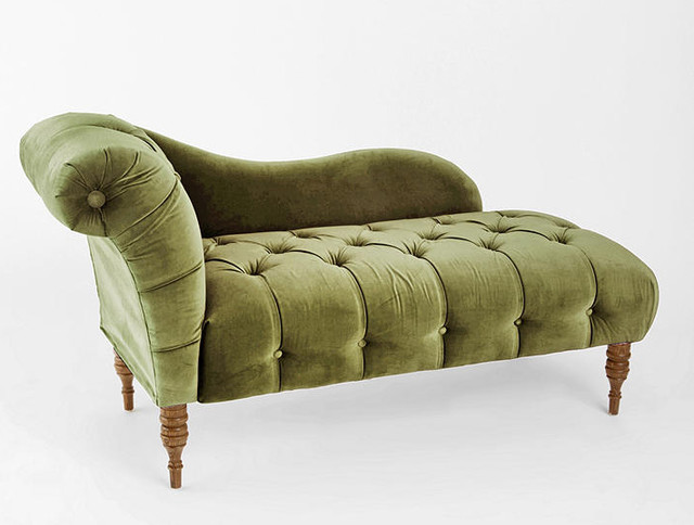 Edie velvet chaise green victorian indoor chaise for Buy chaise lounge