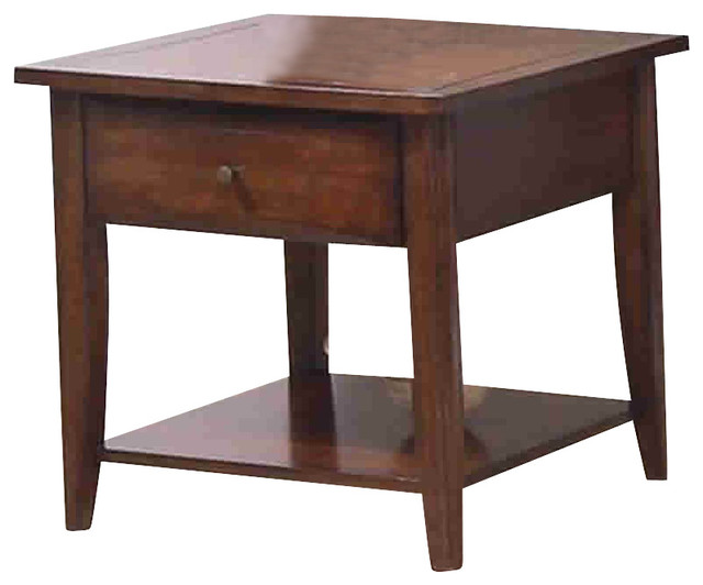 Coaster Walnut Whitehall End Table with Shelf and Drawer ...