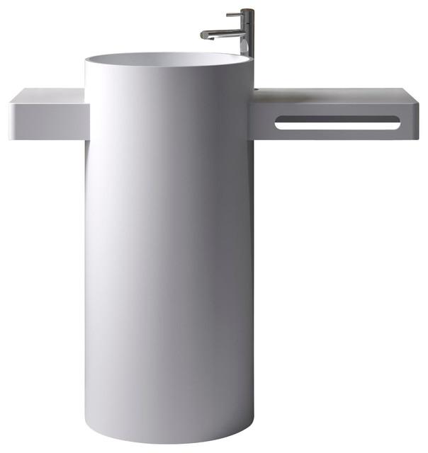 adm free standing stone resin pedestal sink glossy modern bathroom sinks by adm bathroom. Black Bedroom Furniture Sets. Home Design Ideas