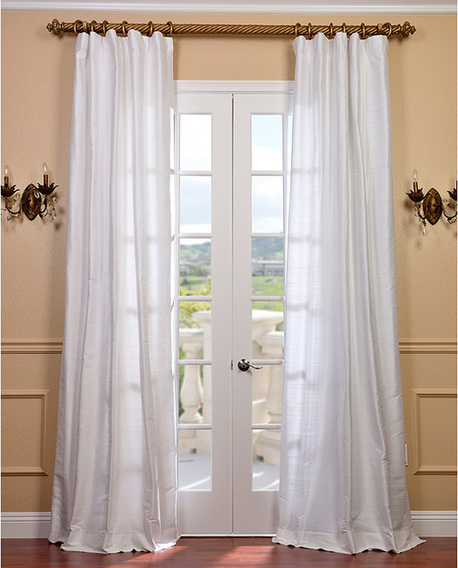 Signature lily white textured silk 120 inch curtain panel for 120 inch window treatments