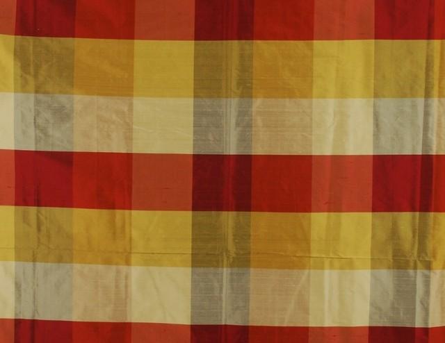 Red Amp Gold Silk Buffalo Check Fabric Pds 1235