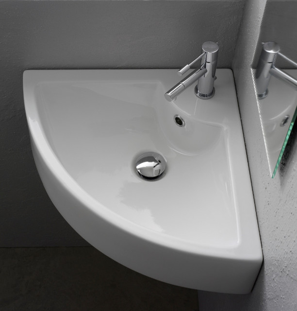 Modern Wall Mounted or Vessel Corner Bathroom Sink