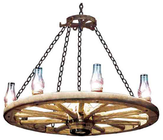 "Wagon Wheel Rustic Chandelier Western Decor Pendant Light: 48"" Wagon Wheel Chandelier"