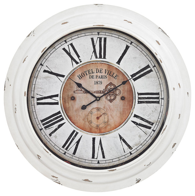 Theodore Wall Clock in Antique White Farmhouse Wall Clocks by Fratanton