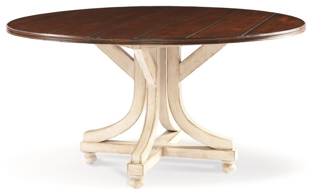 Hickory White Leland Base And 60 Dia Grooved Top Dining Table 550 10 552