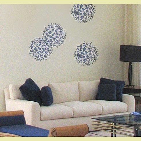 Allium grande flower stencil   contemporaneo   stencil per pareti ...