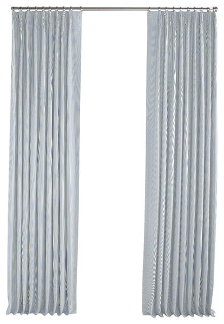 light blue pinstripe pleated curtain single panel