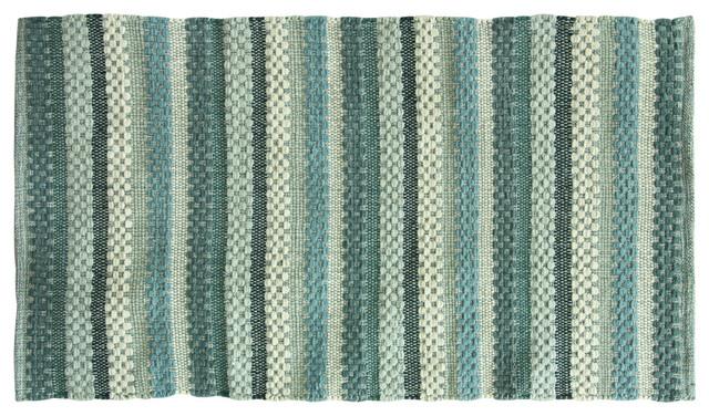 Textured Woven Small Brenden Bath Rug Blue Modern